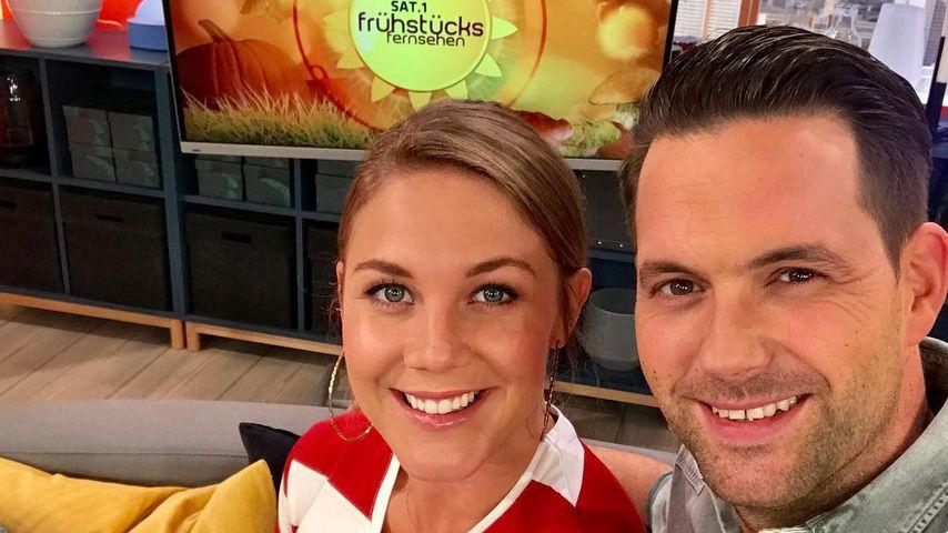 Alina Merkau und Matthias Killing, Moderatoren des Sat.1-Frühstücksfersehens