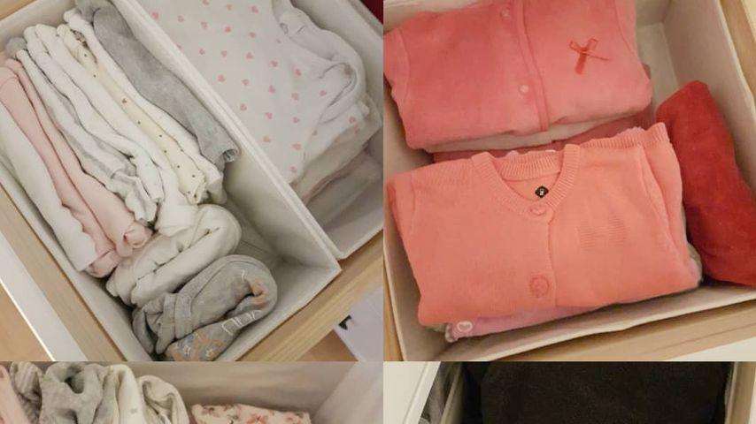 Alissa Harouat zeigt den Kleiderschrank ihres Babys