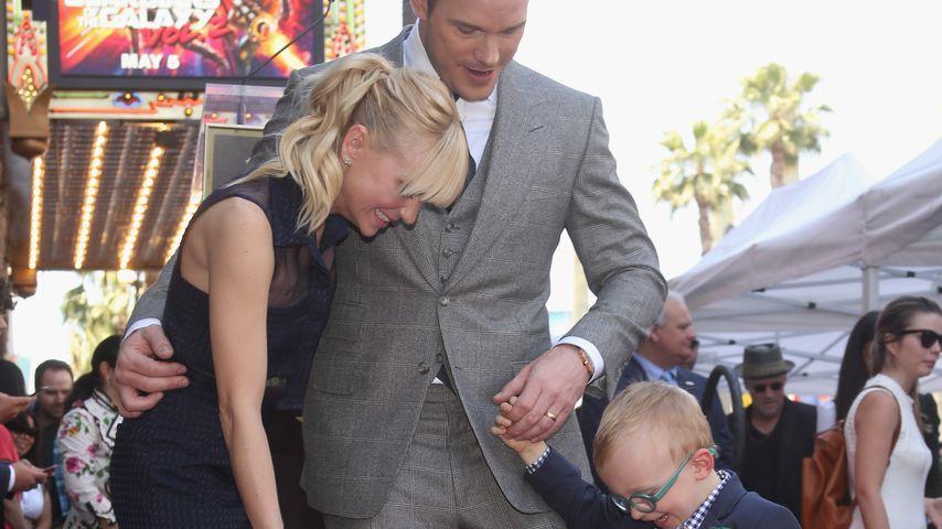 Anna Faris, Chris Pratt und ihr Sohn Jack auf dem Walk of Fame in Hollywood