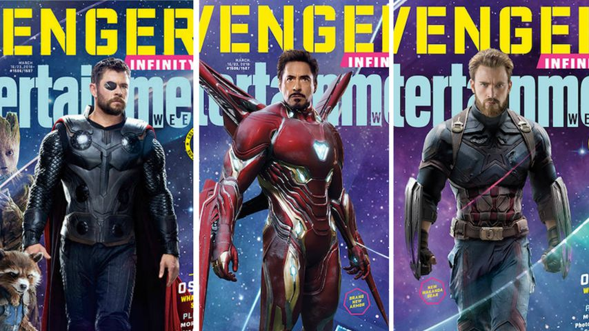 "Collage: ""Avengers: Infinity War""-E!-Cover: Thor, Iron Man und Captain America"