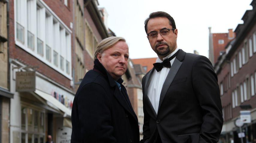 """Axel Prahl und Jan Josef Liefers am Set des Münsteraner """"Tatorts"""""""