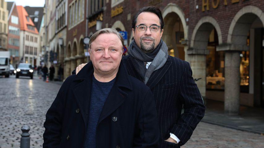 """Axel Prahl und Jan Josef Liefers am """"Tatort""""-Set in Münster"""