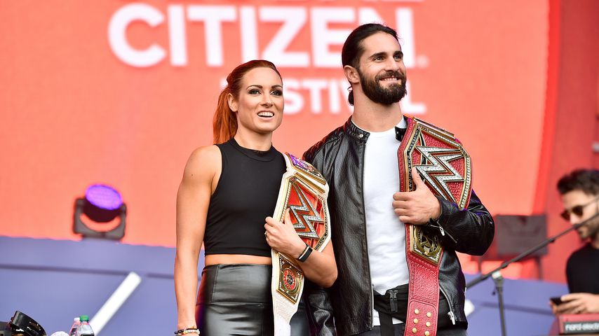 Becky Lynch und Seth Rollins im September 2019 in New York