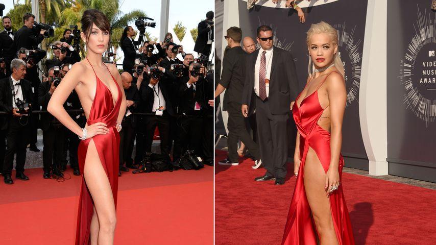 Rot & sexy: Bella Hadid kopiert Rita Oras Nackt-Fummel