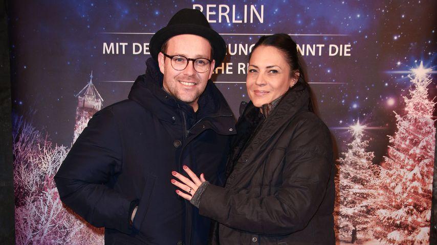 Ben mit seiner Frau Caroline beim Opening des Christmas Garden in Berlin, 2017