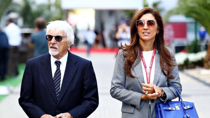 Bernie Ecclestone mit seiner Frau Fabiana in Sochi, 2019