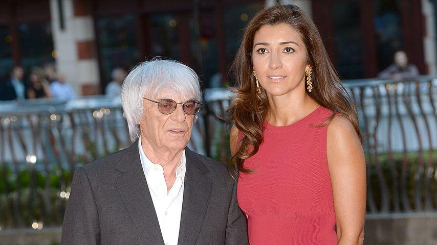 """Bernie Ecclestone und Ehefrau Fabiana Flosi bei der Premiere des Films """"Rush"""" in London"""