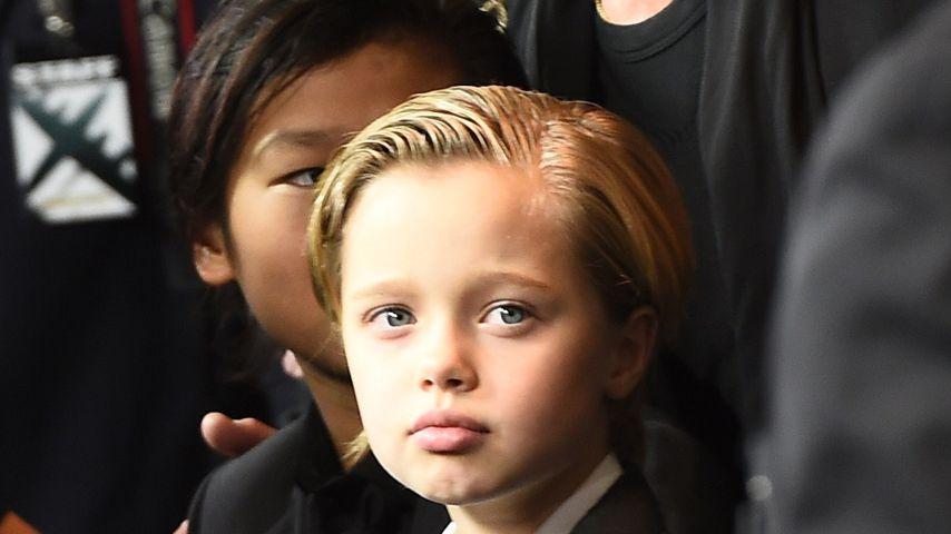 Brad Pitt mit seinen Kindern Pax und Shiloh 2014 in Hollywood