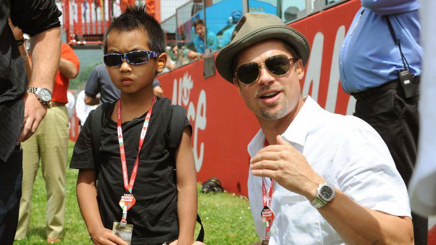 Brad Pitt (r.) mit seinem Sohn Maddox im Jahr 2008