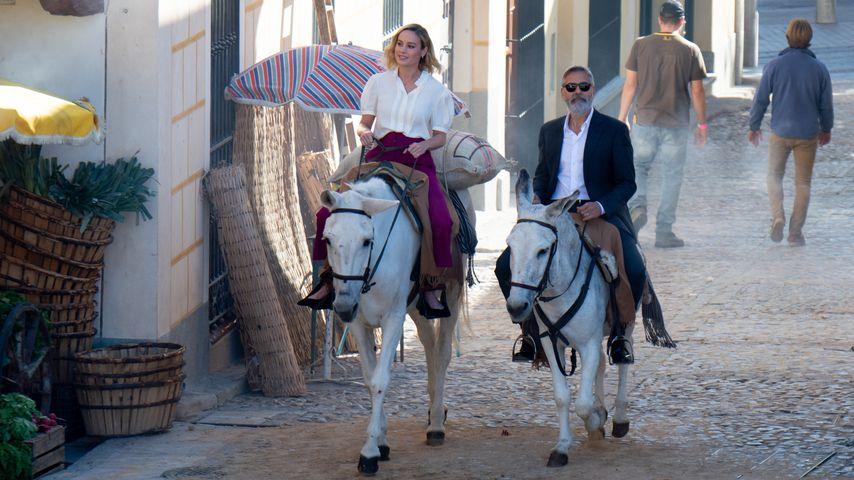 Brie Larson und George Clooney bei den Dreharbeiten zum neuen Nespresso-Werbespot