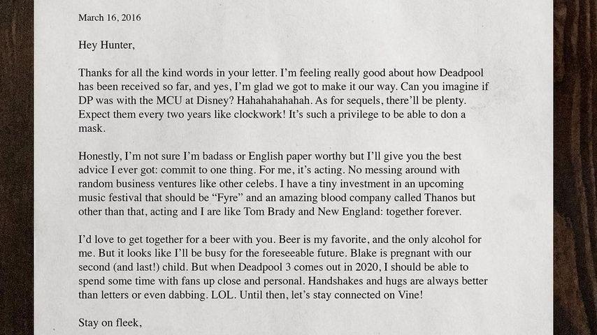 Brief von Ryan Reynolds an einen Fan