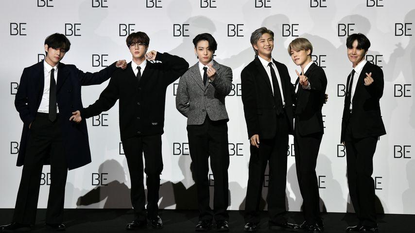 BTS bei einer Pressekonferenz in Seoul, Südkorea