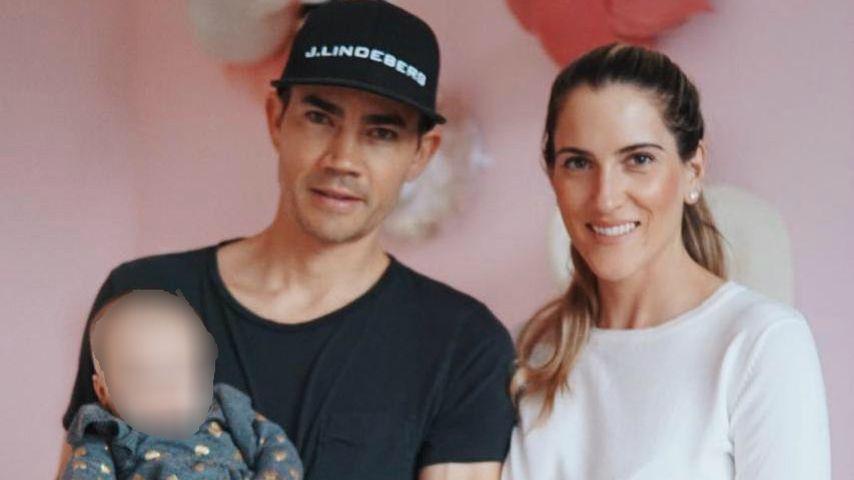 Camilo Villegas mit seiner Frau und seiner Tochter im Januar 2019