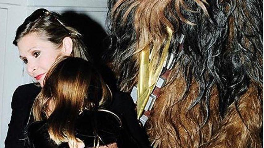 Carrie Fischer, Billie Lourd und Chewbacca