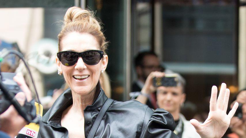 Celine Dion beim Verlassen des Regent-Hotels in Berlin