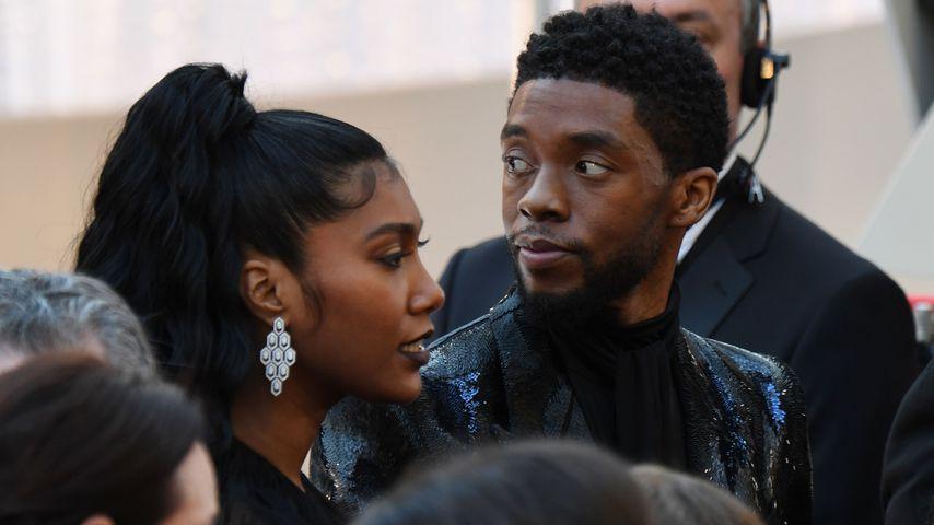 Chadwick Boseman mit seiner Frau Taylor Simone Ledward im Februar 2019