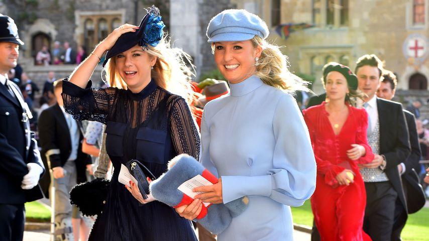 Chelsy Davy (l.) bei der Hochzeit von Prinzessin Eugenie und Jack Brooksbank