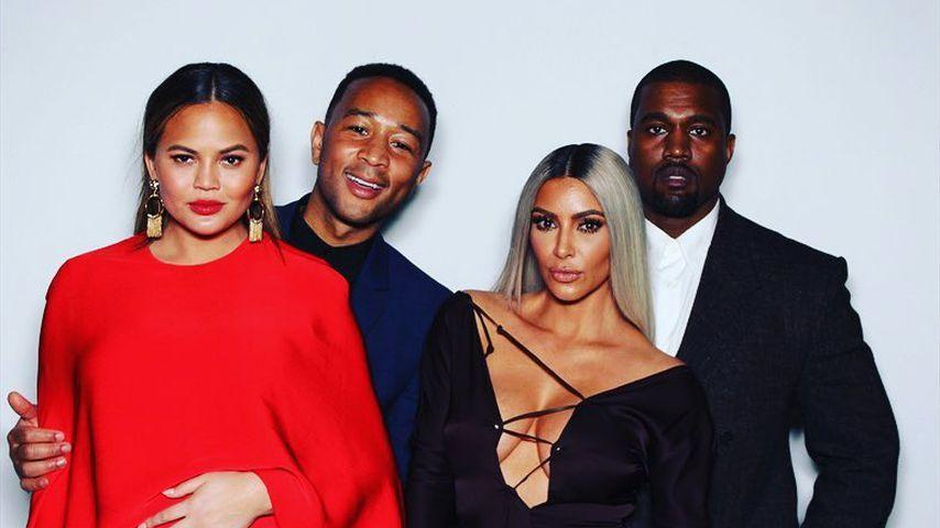 Chrissy Teigen, John Legend, Kim Kardashian, Kanye West auf Ellen DeGeneres Geburtstagsparty