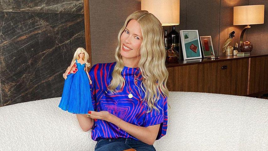 Claudia Schiffer mit ihrer Barbie, 2020