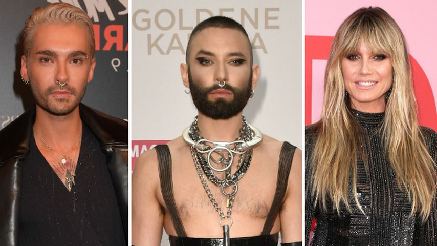 Collage: Bill Kaulitz, Conchita Wurst und Heidi Klum