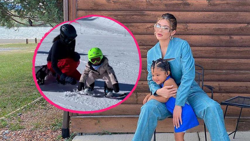 Putzig! Kylie Jenners Tochter Stormi auf Snowboard unterwegs