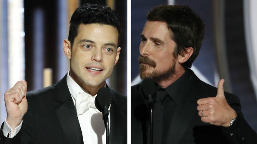 Collage: Rami Malek und Christian Bale bei den Golden Globes 2019