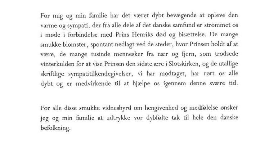 Dankesbrief von Königin Margrethe von Dänemark