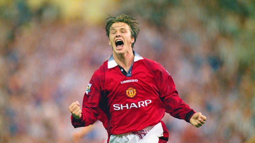 David Beckham beim Spiel Manchester United gegen Newcastle United im August 1996 im Londoner Wembley