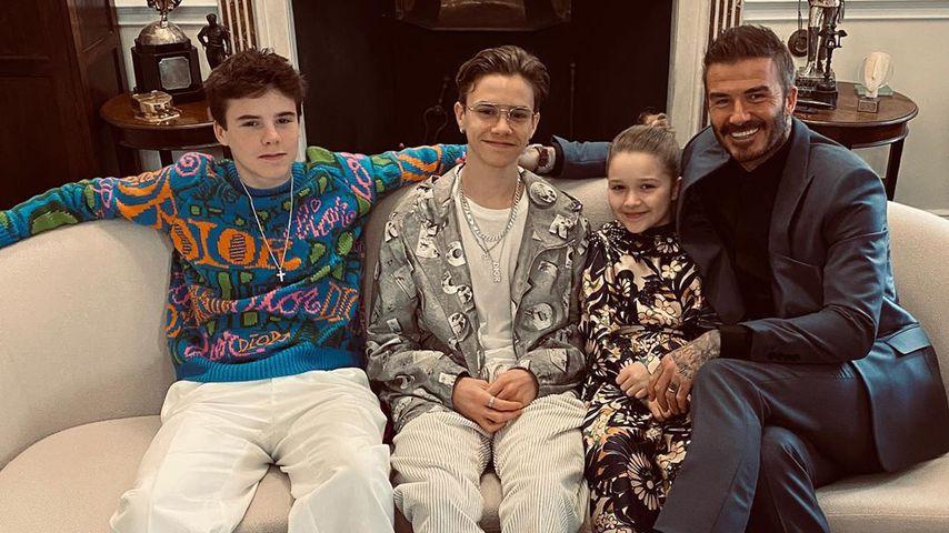 David Beckham mit seinen Kindern Cruz, Romeo und Harper
