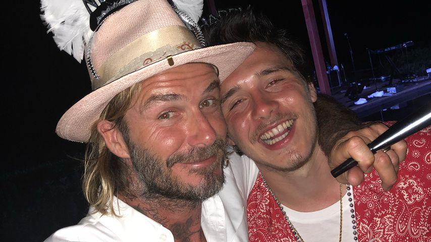 David und Brooklyn Beckham an Silvester 2017