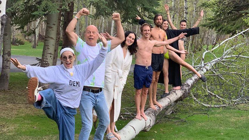 Demi Moore und Bruce Willis mit ihrer Familie