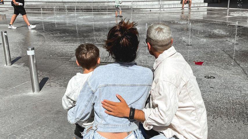 Denise Merten mit ihrem Sohn Ben-Matteo und ihrem Mann Henning