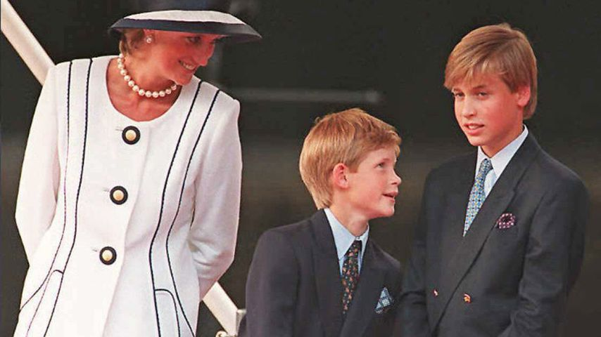 Prinzessin Diana, Prinz Harry und Prinz William 1995 in London