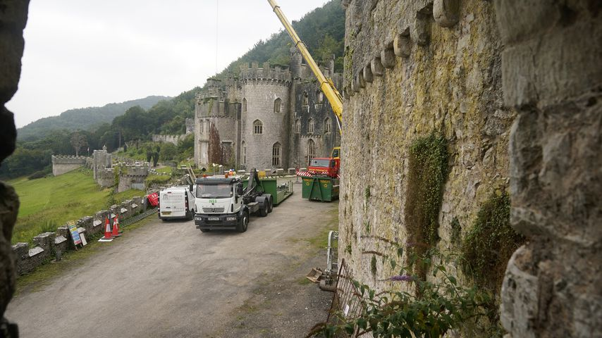 Die Burg Gwrych Castle während der Vorbereitungen zum UK-Dschungelcamp