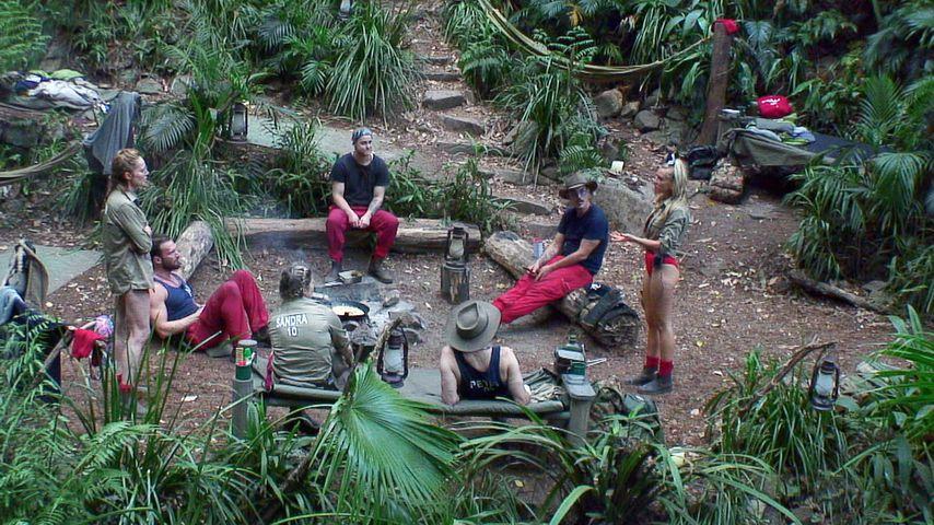 Die Dschungelcamp-Teilnehmer an der Feuerstelle