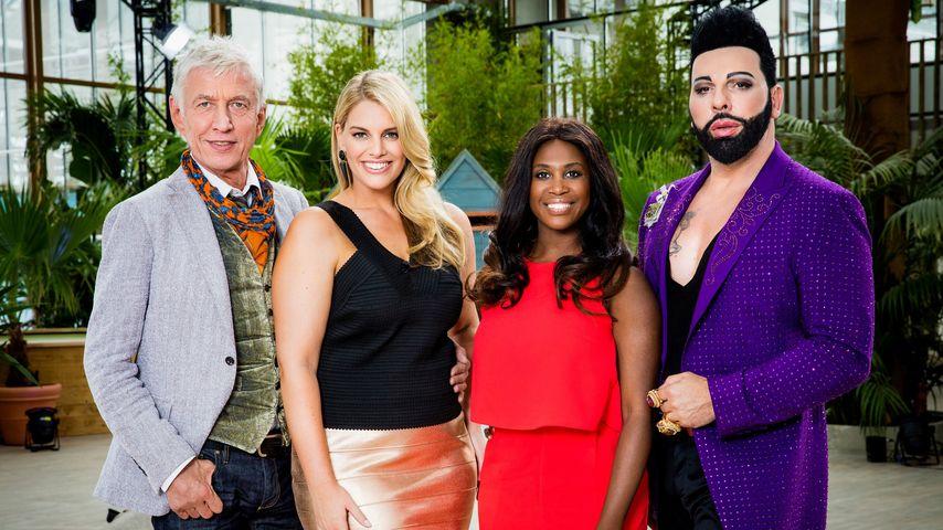 """Die """"Curvy Supermodel""""-Jury der ersten Staffel: Ted Linow, Angelina Kirsch, Motsi Mabuse & Harald Gl"""