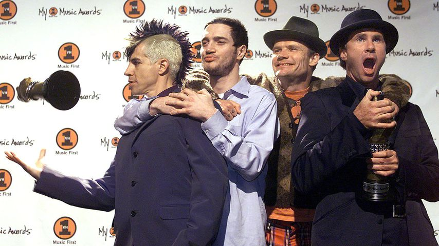 Die Red Hot Chili Peppers Anthony Kiedis, John Fusciante, Flea und Chad Smith