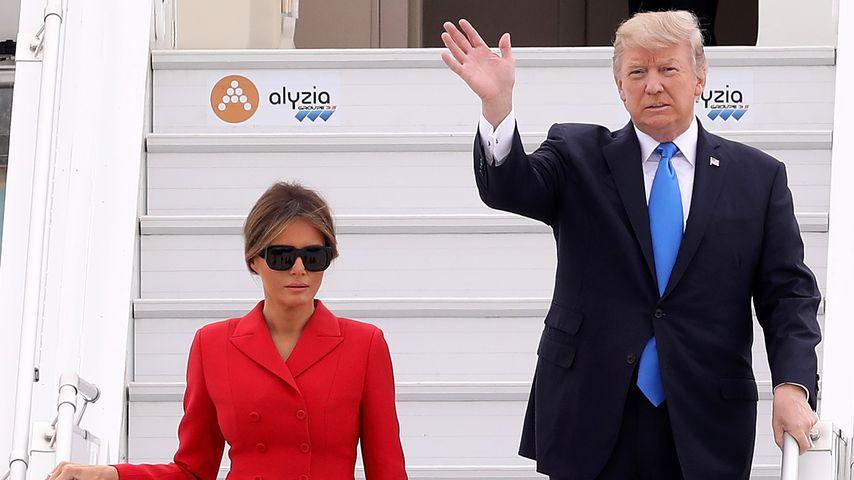 US-Präsident Donald Trump und Frau Melania am Pariser Flughafen