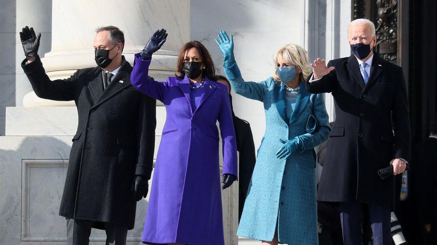 Douglas Emhoff, Kamala Harris, Jill Biden und Joe Biden in Washington