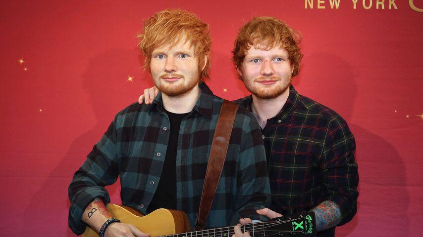 Ed Sheeran beim Debüt seiner Wachsfigur bei Madame Tussauds 2015 in New York