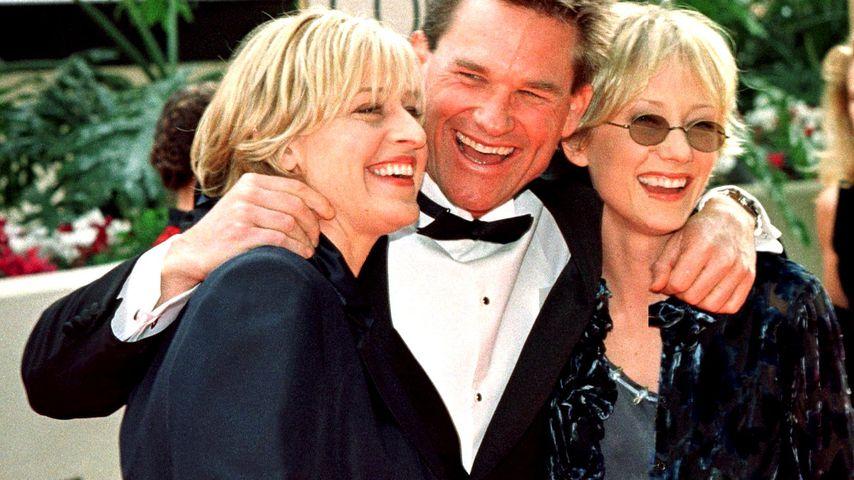 Ellen DeGeneres, Kurt Russell und Anne Heche bei den Golden Globes 1998