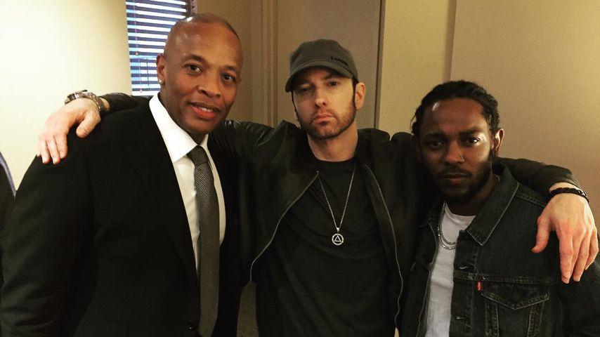 Dr. Dre, Eminem und Kendrick Lamar im Juni 2017