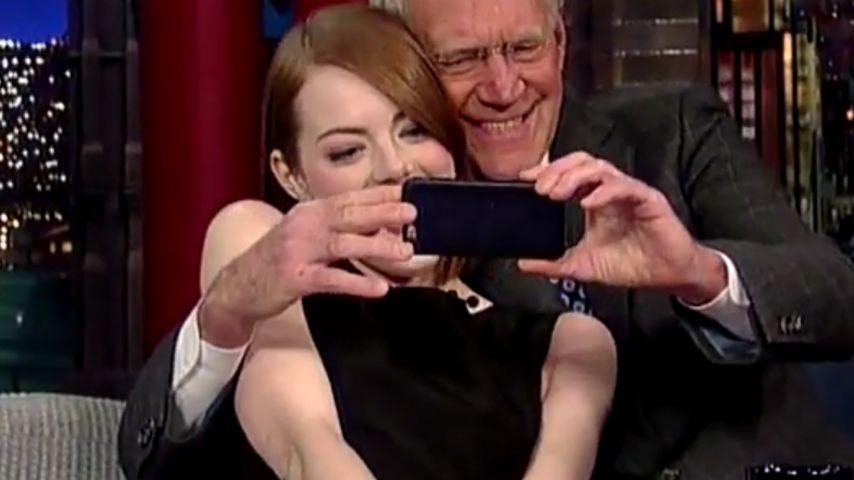 Verschmust: Emma Stone & Letterman im Selfie-Wahn