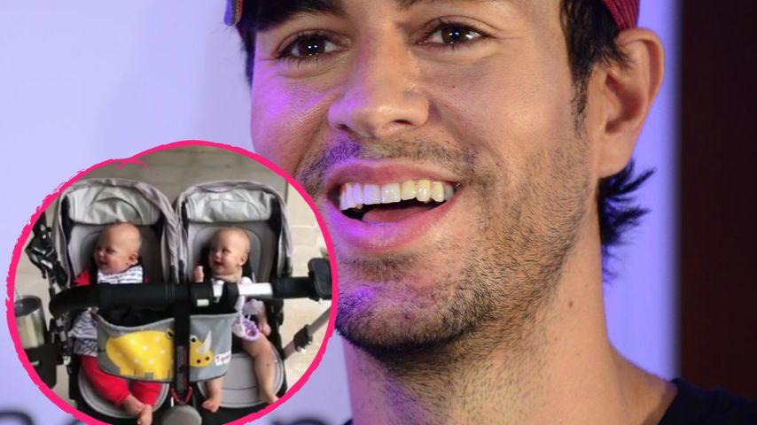 Papa ist ein Clown! Enriques Zwillinge lachen sich schlapp