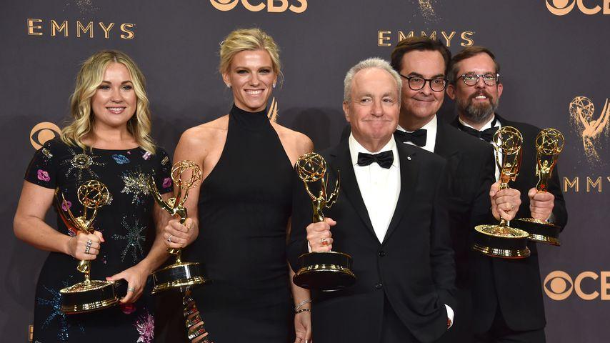 Erin Doyle, Lindsay Shookus, Lorne Michaels, Steve Higgins und Erik Kenward bei den Emmy Awards 2017