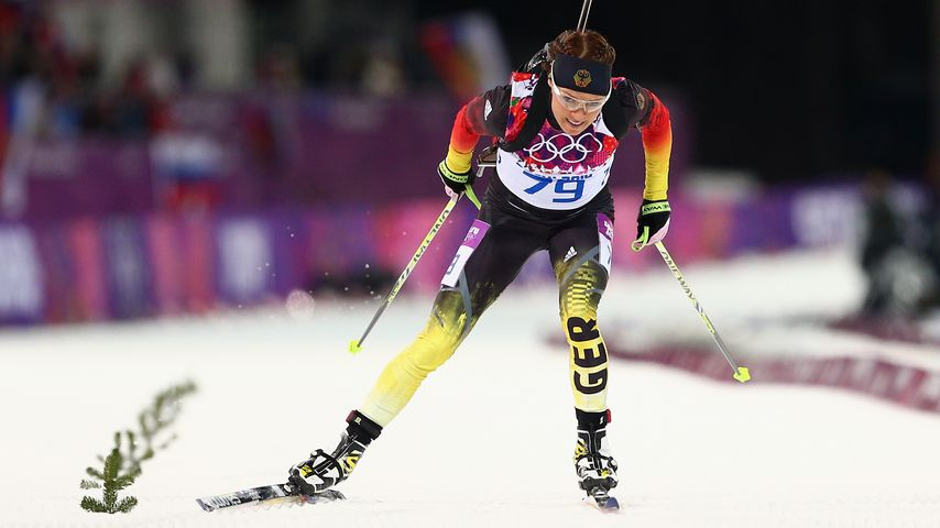 Evi Sachenbacher-Stehle bei den Olympischen Winterspielen 2014 in Sotschi