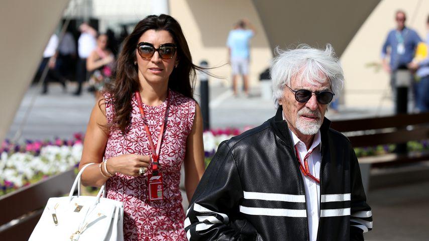 Fabiana Flosi und Bernie Ecclestone in Abu Dhabi, 2018