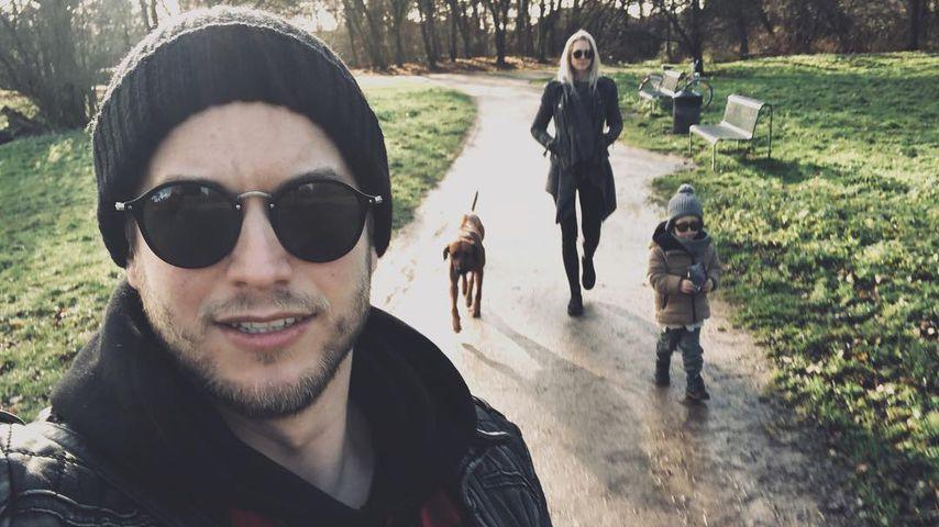 Florian Frowein mit seiner Frau und seinem Sohn in Köln 2018