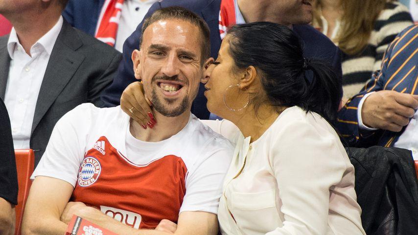 Franck und Wahiba Ribéry bei einem Fußballspiel in München