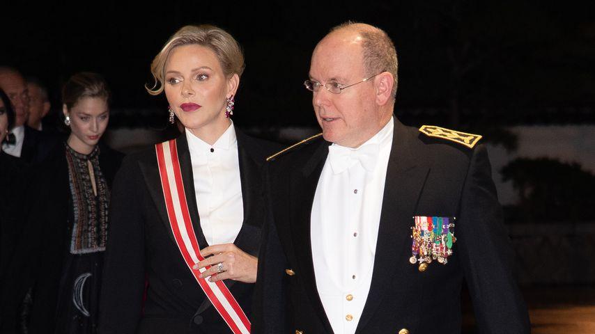 Fürstin Charlène und Fürst Albert II. bei einer Gala in Monaco am Nationalfeiertag im Jahr 2019